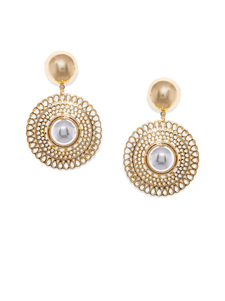 Circular Gold And Silver Earrings - ChicMela