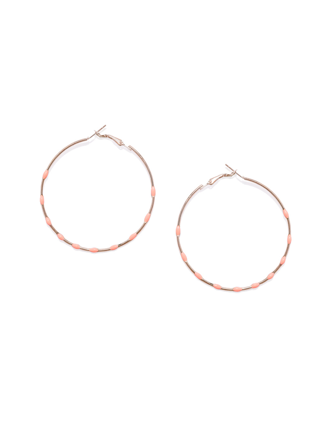 Peach Dotted Circular Hoops - ChicMela