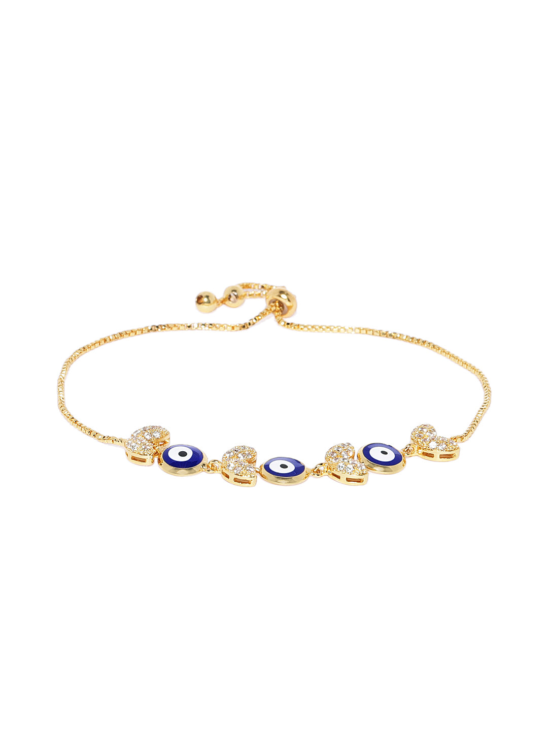 18K Gold Plated Evil Eye Charm Bracelet - ChicMela