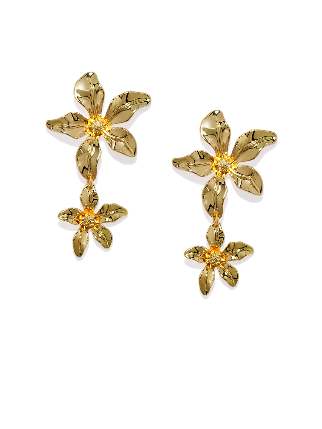 Angela Floral 18k Gold Plated Drops - ChicMela