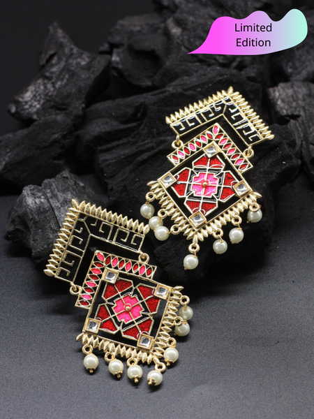 Limited Edition- Geometry Meenakari Statement Earrings