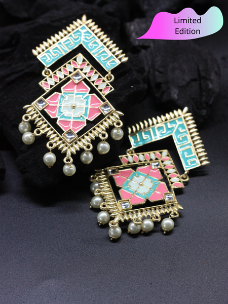 Limited Edition- Geometry Pastel Meenakari Statement Drops