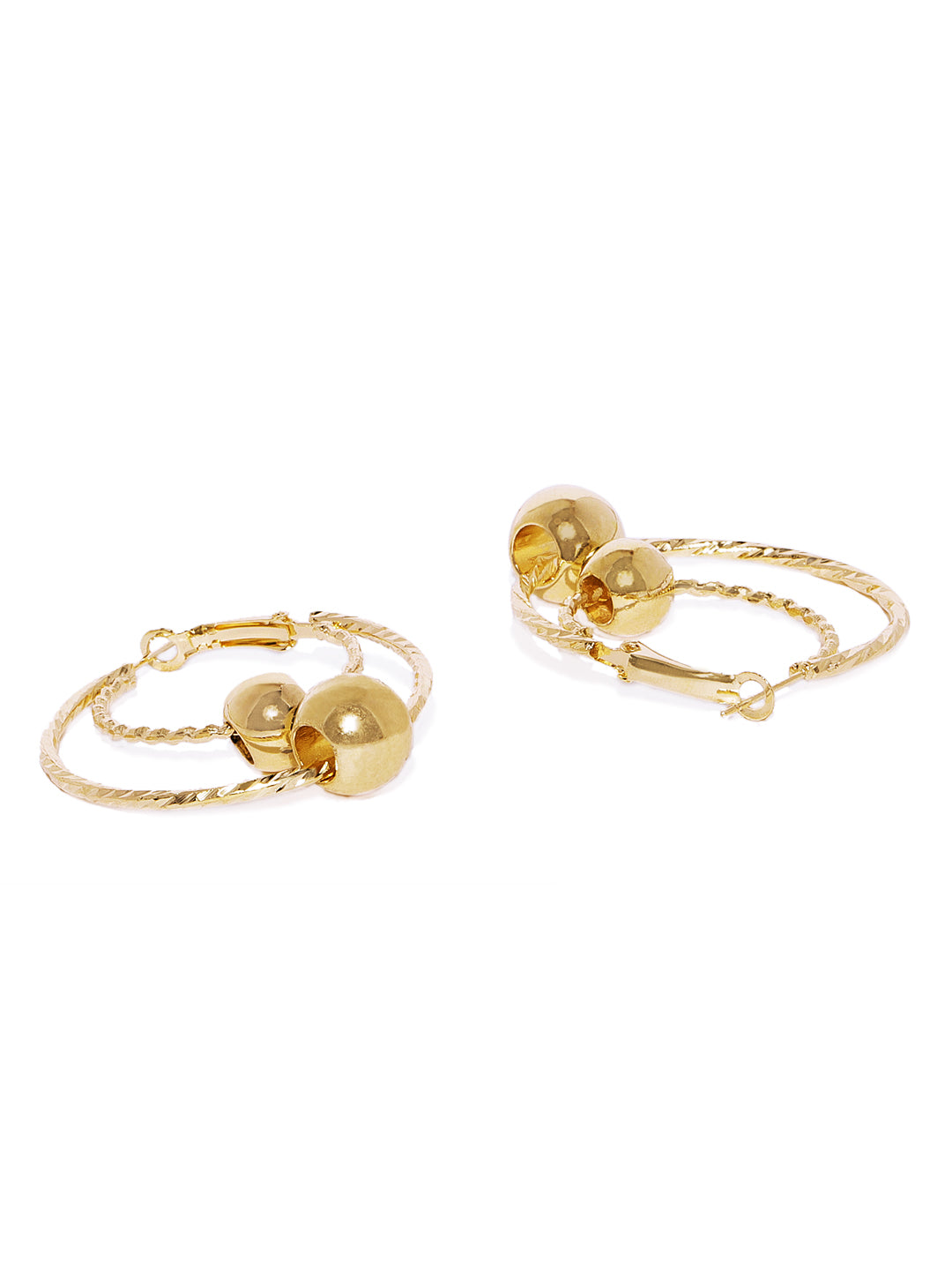 Luna Golden Circular Hoops - ChicMela