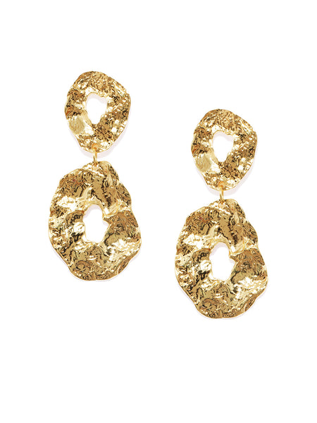 Textured Gold Earrings - ChicMela