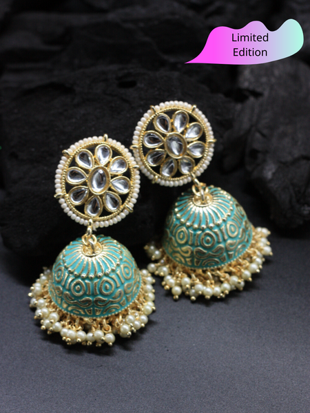 Limited Edition- Green Meenakari Jhumka