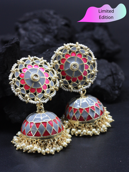 Limited Edition- Black & Grey Meenakari Jhumka