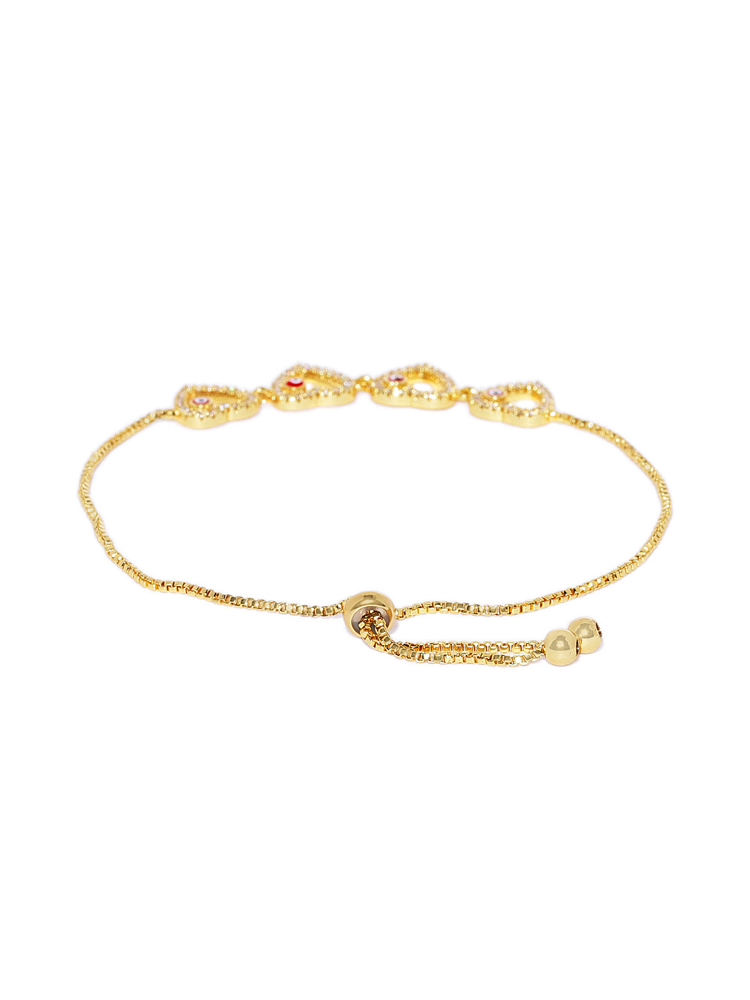 18k Gold Plated Heart Evil Eye Charm Bracelet