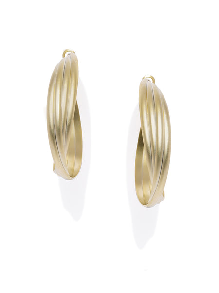 Textured Matte Gold Hoops - ChicMela