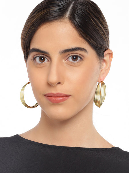 Textured Matte Gold Hoops
