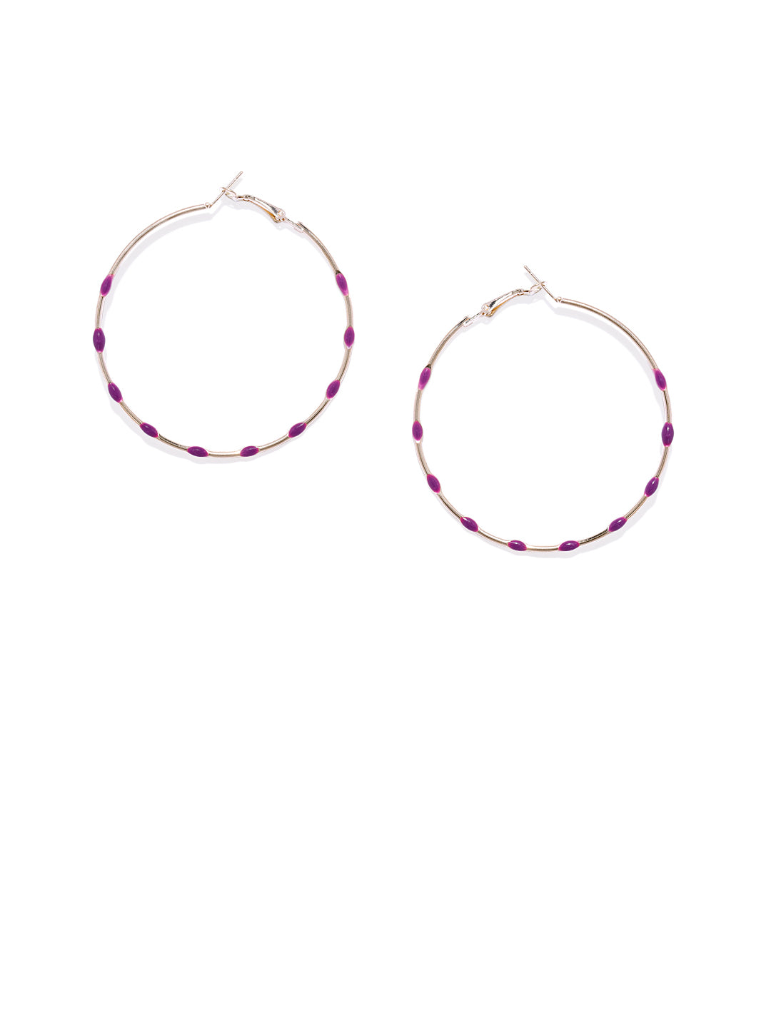 Purple Dotted Circular Hoops - ChicMela