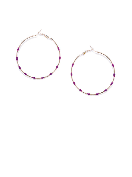 Purple Dotted Circular Hoops