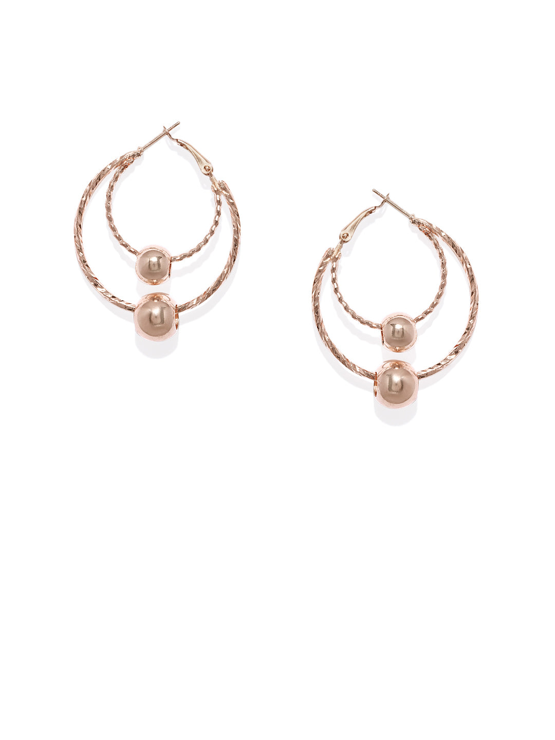 Luna Rose Gold Circular Drops - ChicMela