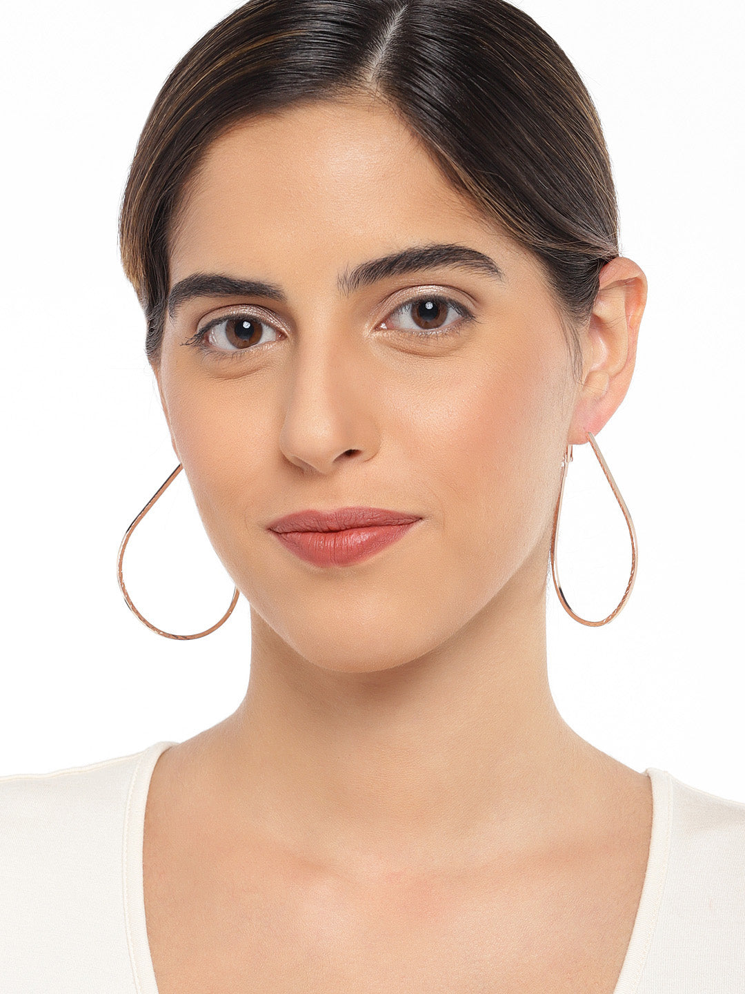 Teardrop Rose Gold Hoops - ChicMela