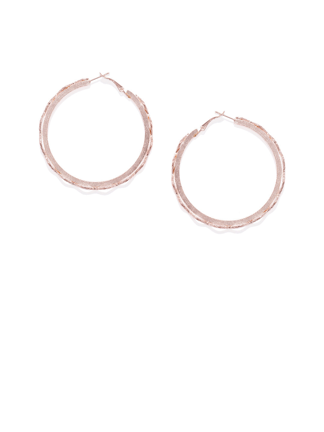 Rose Gold Wave Hoops - ChicMela