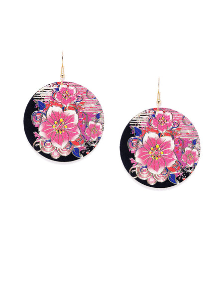 Multicoloured Floral Circular Earrings - ChicMela