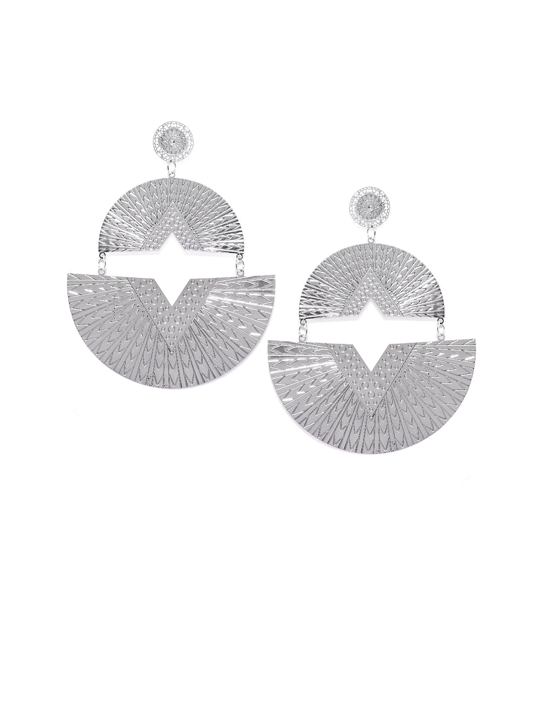 Silver Tribal Earrings - ChicMela