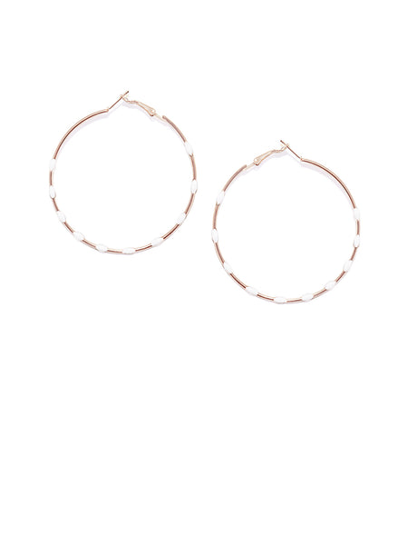 White Dotted Circular Hoops