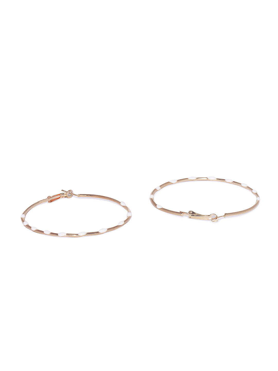 White Dotted Circular Hoops - ChicMela
