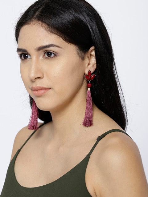 New York- Long Oxblood Tassel Earrings - ChicMela