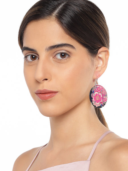 Multicoloured Floral Circular Earrings