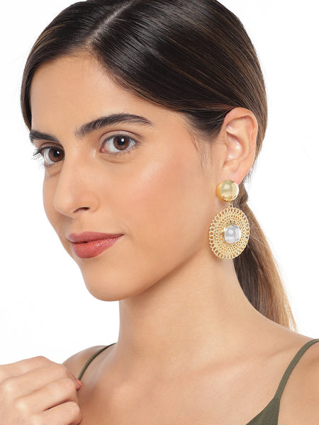 Circular Gold And Silver Earrings