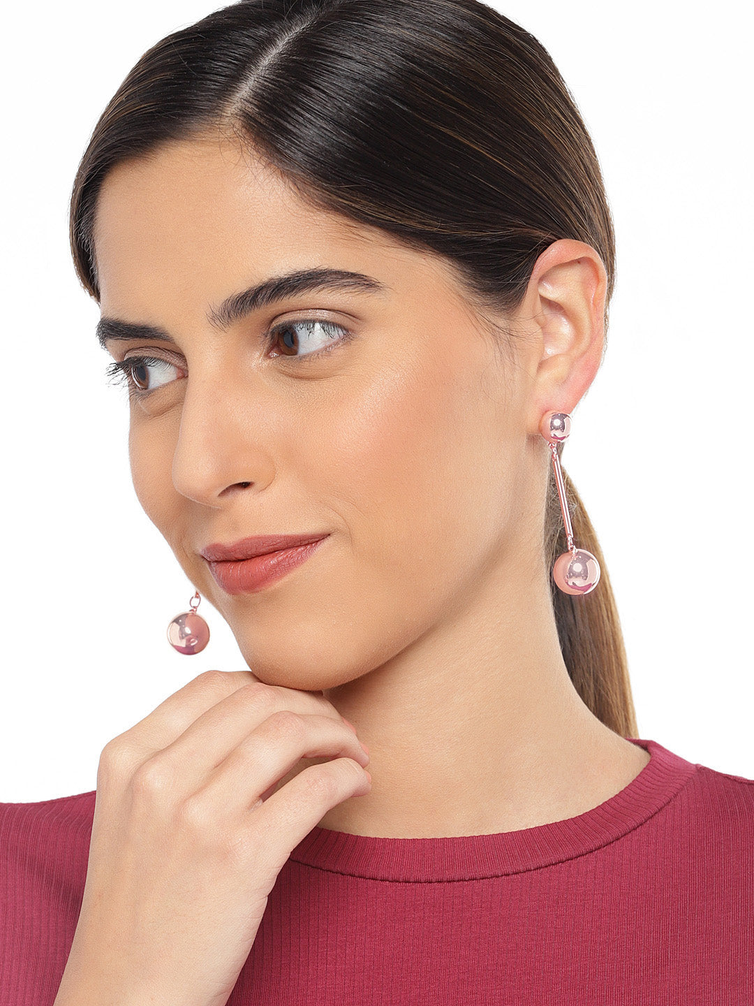 Rose Gold Linear Earrings with Metal Balls - ChicMela
