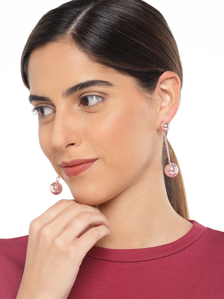 Rose Gold Linear Earrings with Metal Balls