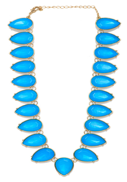New York- Bold 18k Silver Plated Blue Statement Necklace