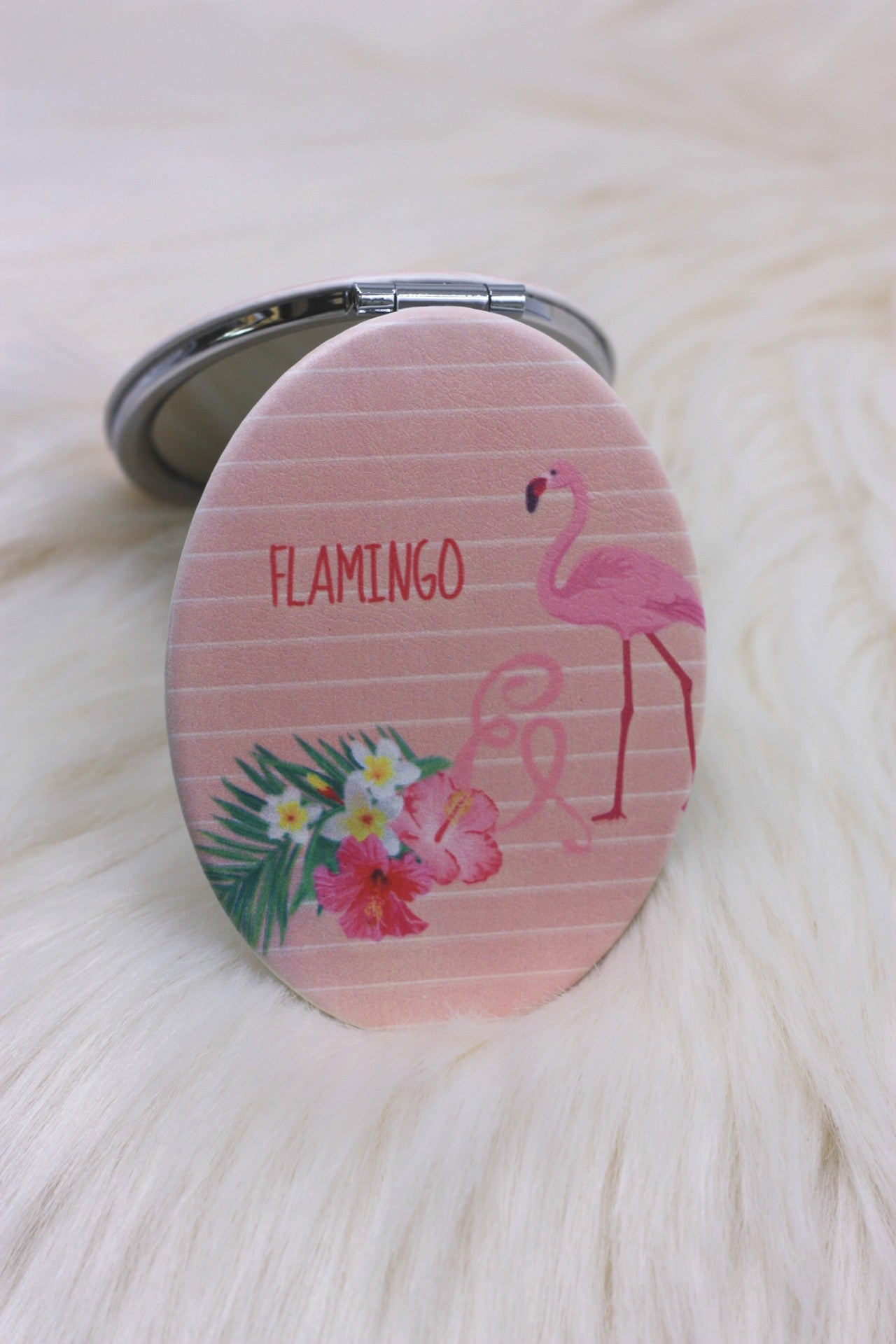 Coral Flamingo Compact Mirror - ChicMela