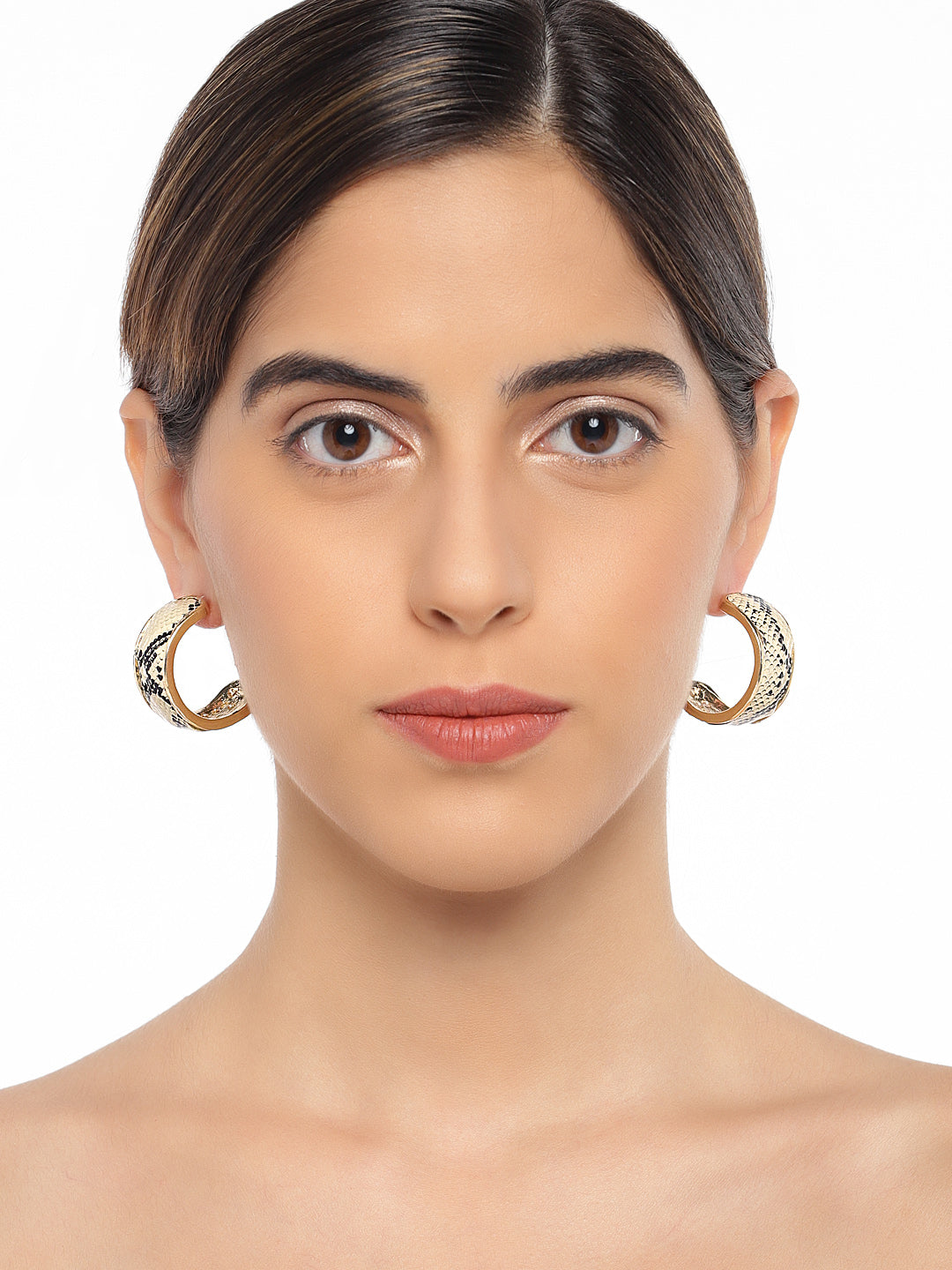 Snake Skin Textured Hoops - ChicMela