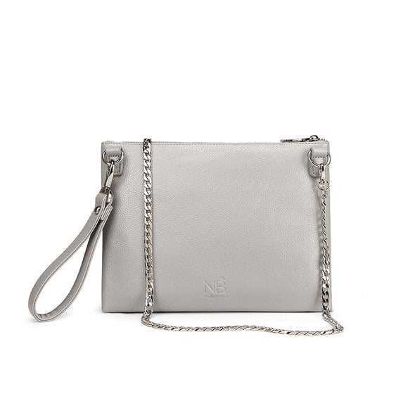 Lexi Carry-all Clutch / Wristlet Light Grey Back View