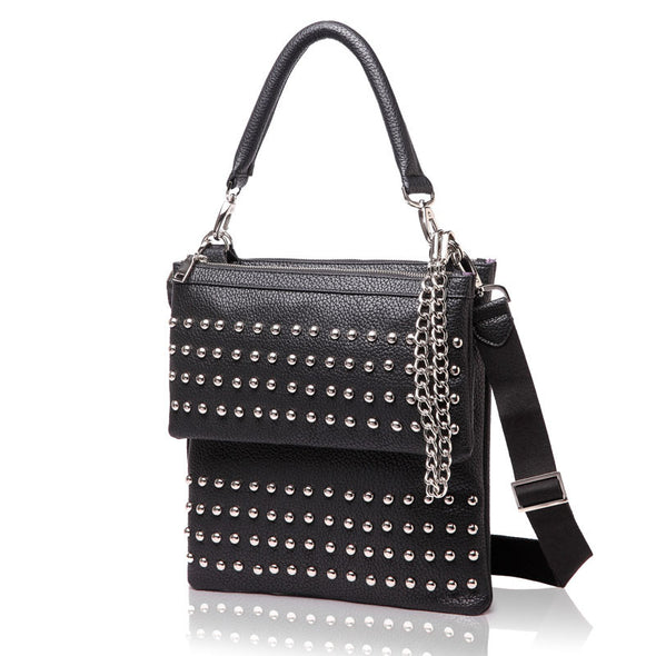 London Multi-functional CrossBody Handbag Studded Black