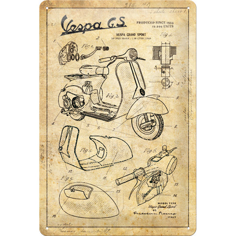 Cartello Vespa Parts Sketches 20x30 - Nostalgic Motor Art Merchandize