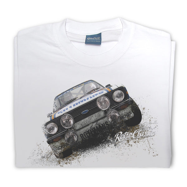 T-shirt Ford Escort MK2 White Bianca - Retro Classic Clothing