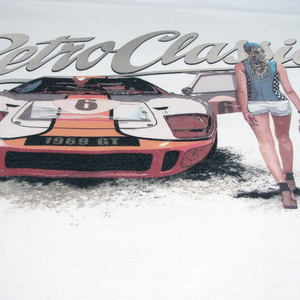 T-shirt Ford GT40 and Grid Girl White Bianca - Retro Classic Clothing