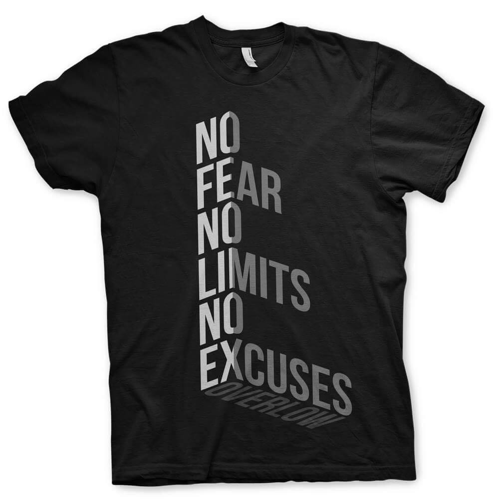 T-shirt No Fear No Limits No Excuses - Overlow Streetwear
