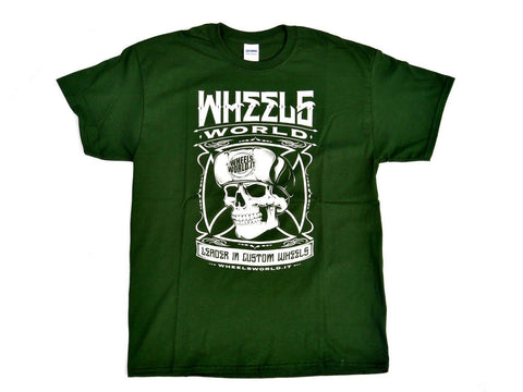 Tshirt Skull Forest Green Verde - Wheels World