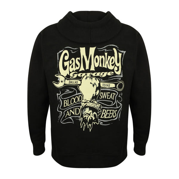 Felpa Zip Hoodie Hand and Spanner GMG Gas Monkey Garage  - Kustom & American Brands