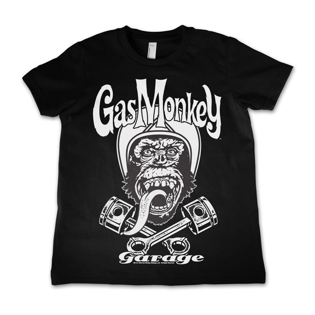 T-shirt KID Bambino Gas Monkey Garage GMG Biker Monkey Logo Black - Kustom & American Brands