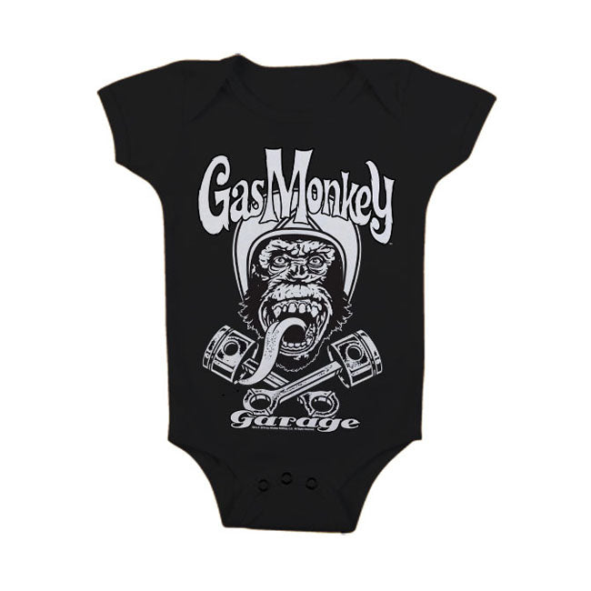 Baby Body Tutina KID Bambino Gas Monkey Garage GMG Biker Monkey Black - Kustom & American Brands