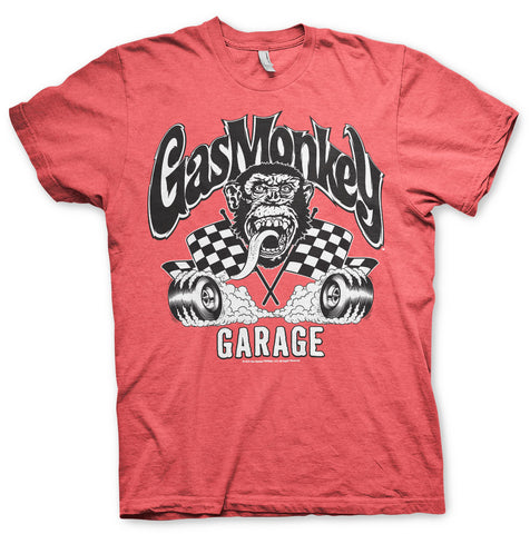 T-shirt Gas Monkey Garage GMG Burning Wheels Red - Kustom & American Brands