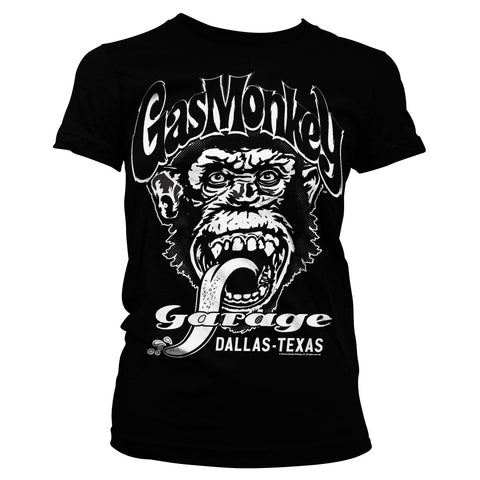 T-shirt Girly Donna Gas Monkey Garage GMG Dallas Texas Black - Kustom & American Brands