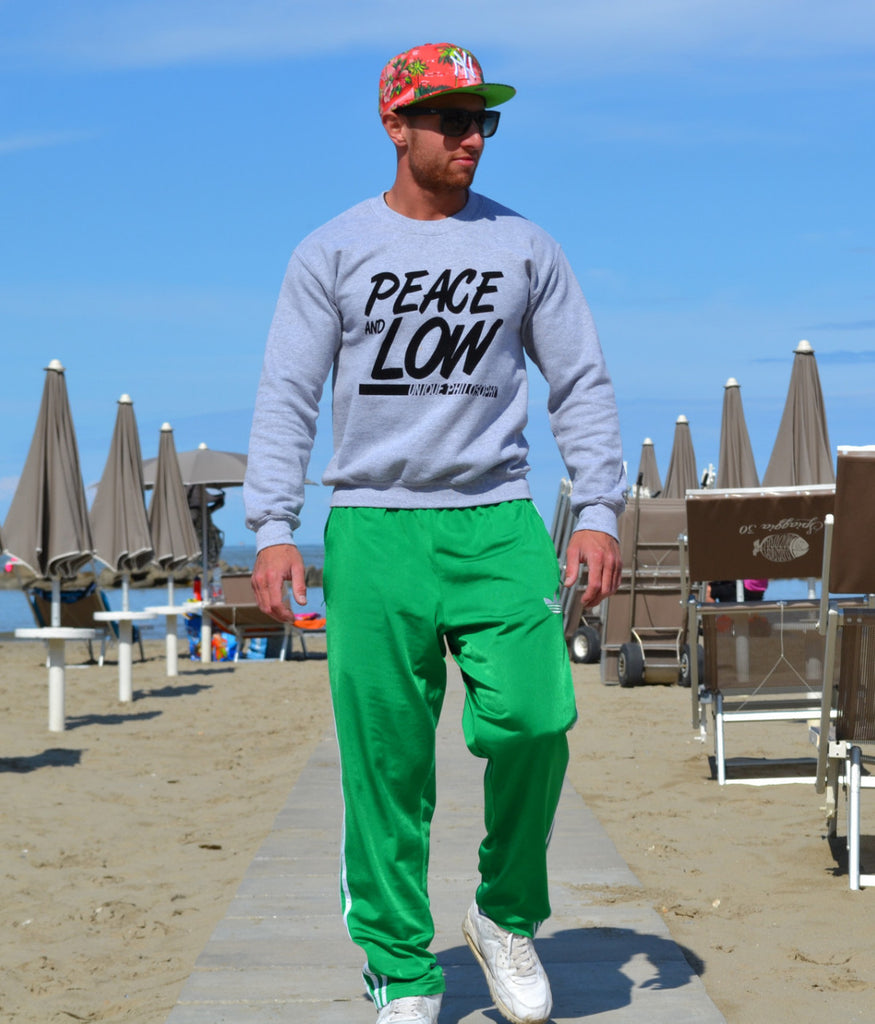"Felpa collo O - Sweatshirt ""Peace and Low"" - Peace and Low Petrolhead Clothing"