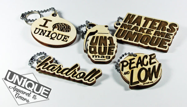 "Portachiavi in legno, Wood Keyrings ""hardroll"" - Peace and Low Petrolhead Clothing"