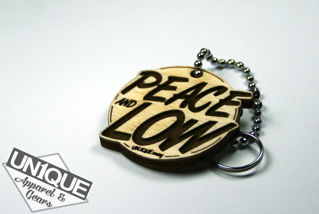 "Portachiavi in legno, Wood Keyrings ""Peace and Low"" - Peace and Low Petrolhead Clothing"