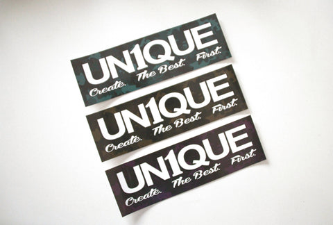 "Adesivo Sticker ""UN1QUE Create.The Best.First"" Camo - Peace and Low Petrolhead Clothing"