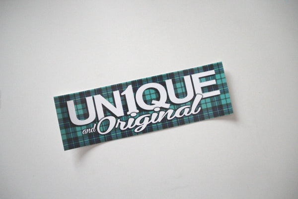 "Adesivo Sticker ""UN1QUE and Original"" Tartan - Peace and Low Petrolhead Clothing"