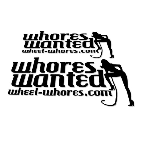 Adesivo Sticker Whores Wanted BLACK - Wheel Whores Italia