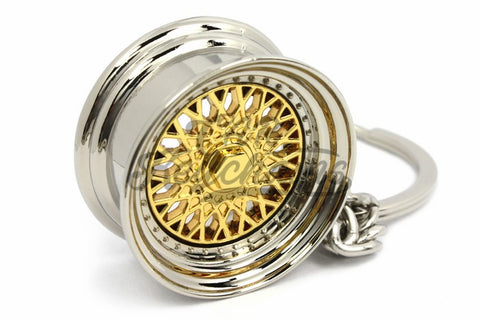 Cerchio Wheel BBS RS ver.1 Gold Oro Portachiavi Keyrings - Car Keychains
