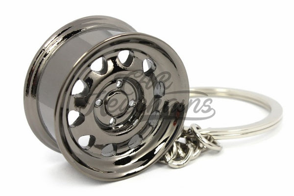 Cerchio Wide Steel Nero Cromo Black Chrome Portachiavi Keyrings - Car Keychains